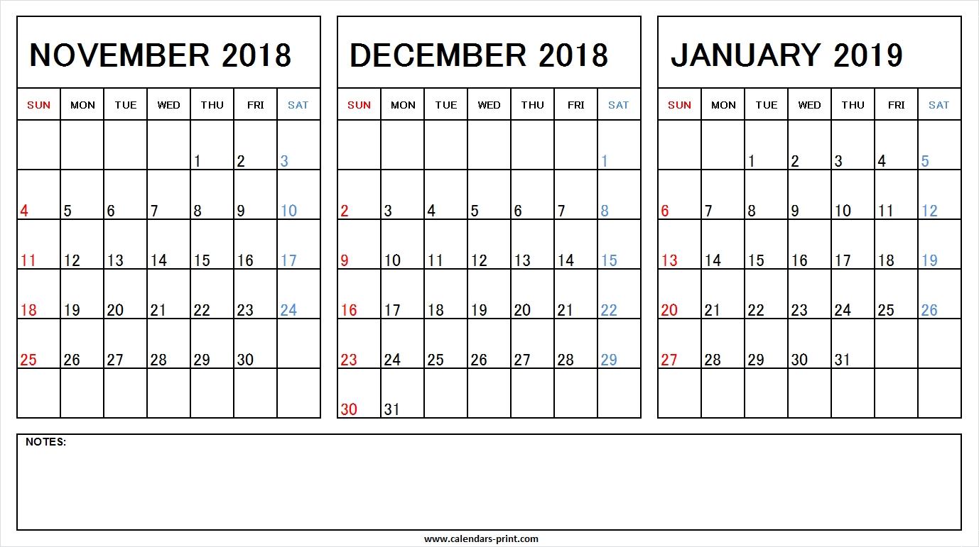 Printable Nov Dec 2018 Jan 2019 Calendar Excel Template Archives Calendar 2019 November December