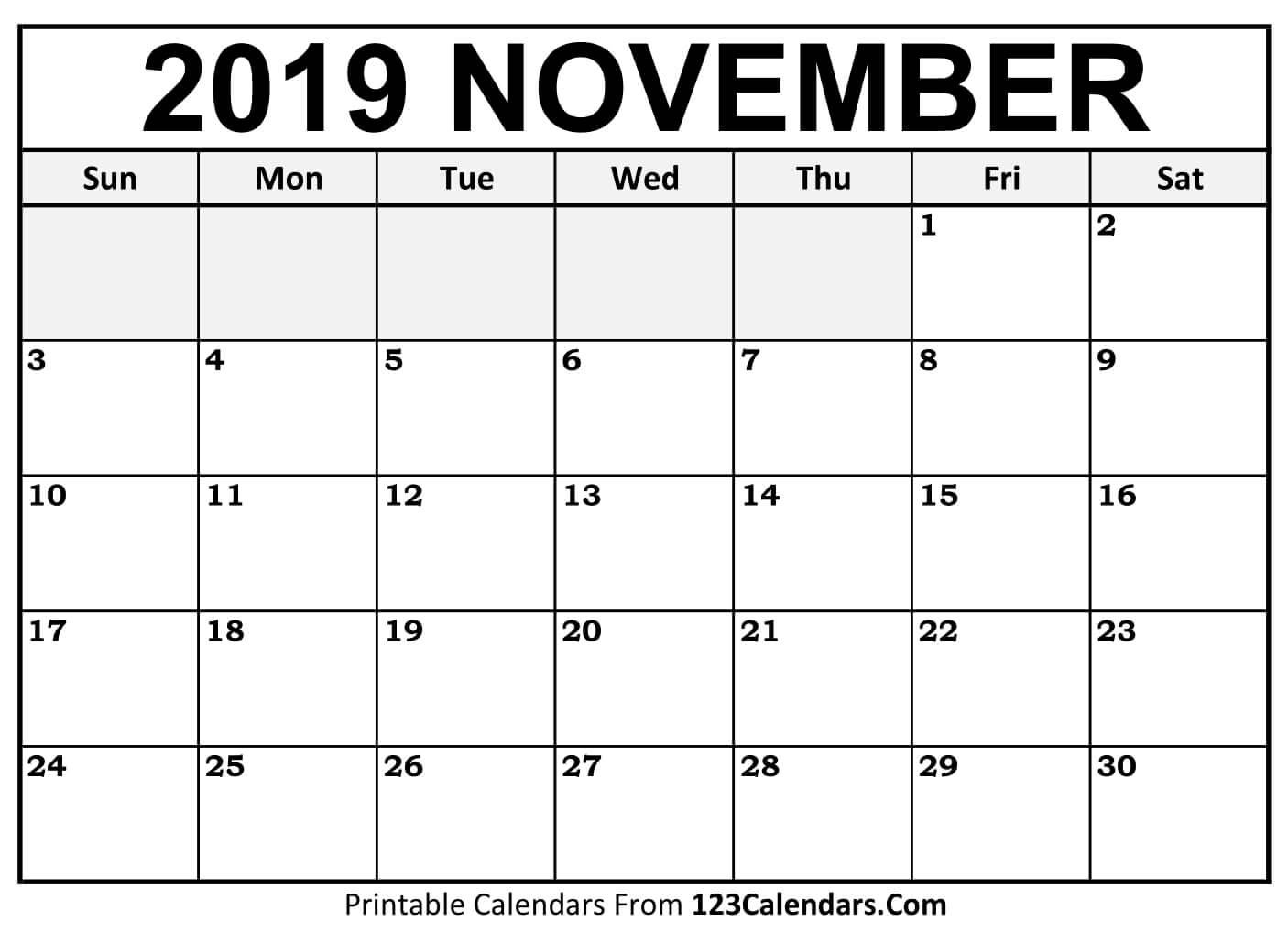 Printable November 2019 Calendar Templates - 123Calendars Calendar 2019 November