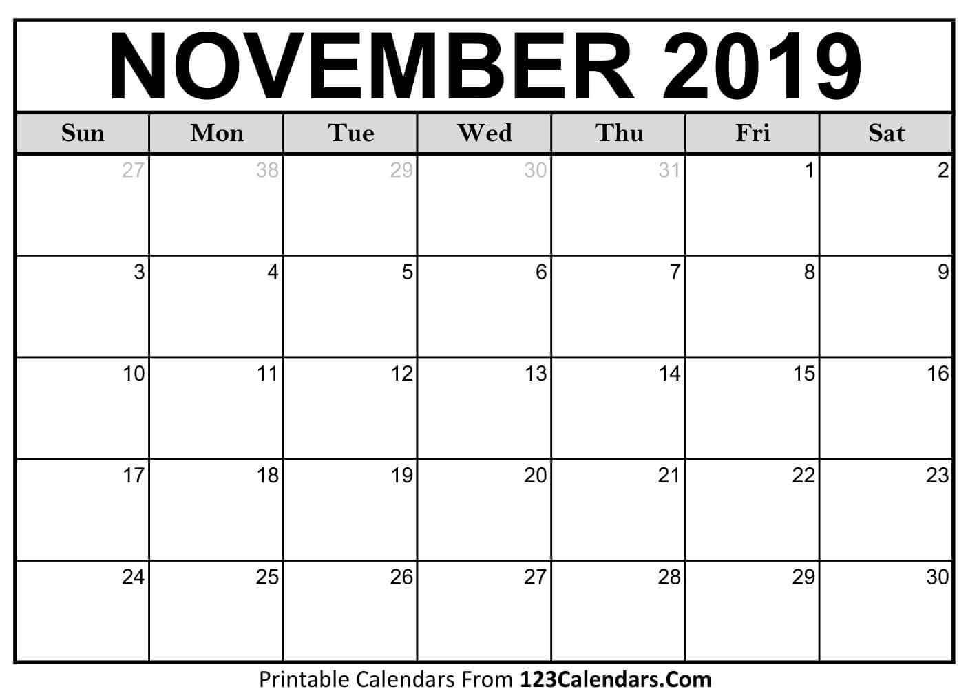 Printable November 2019 Calendar Templates - 123Calendars Calendar Of 2019 November