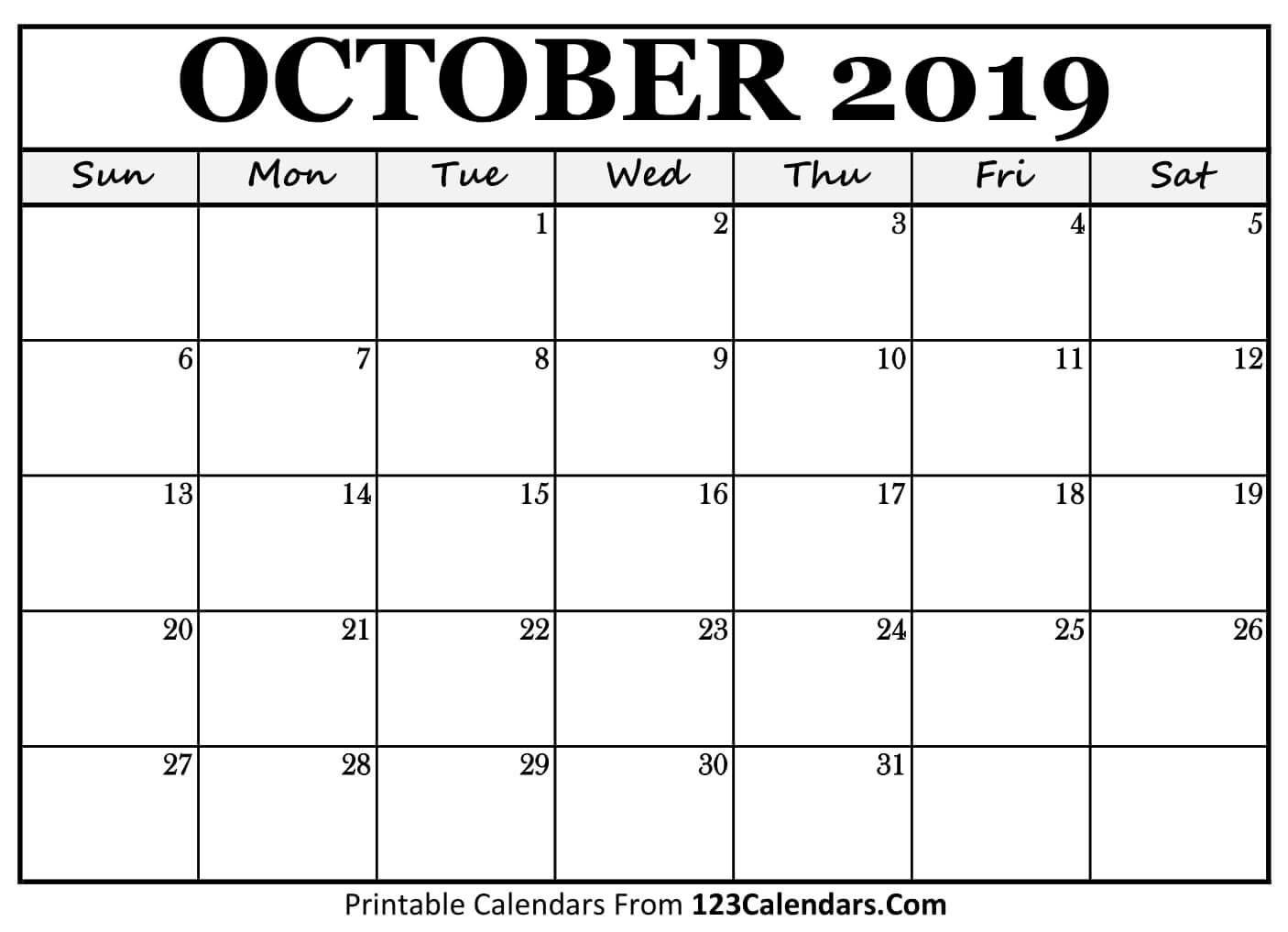 Printable October 2019 Calendar Templates - 123Calendars Calendar 2019 Oct