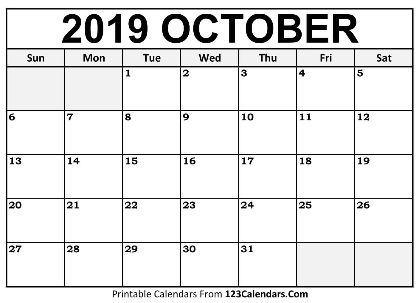 Printable October 2019 Calendar Templates - 123Calendars Calendar 2019 Oct