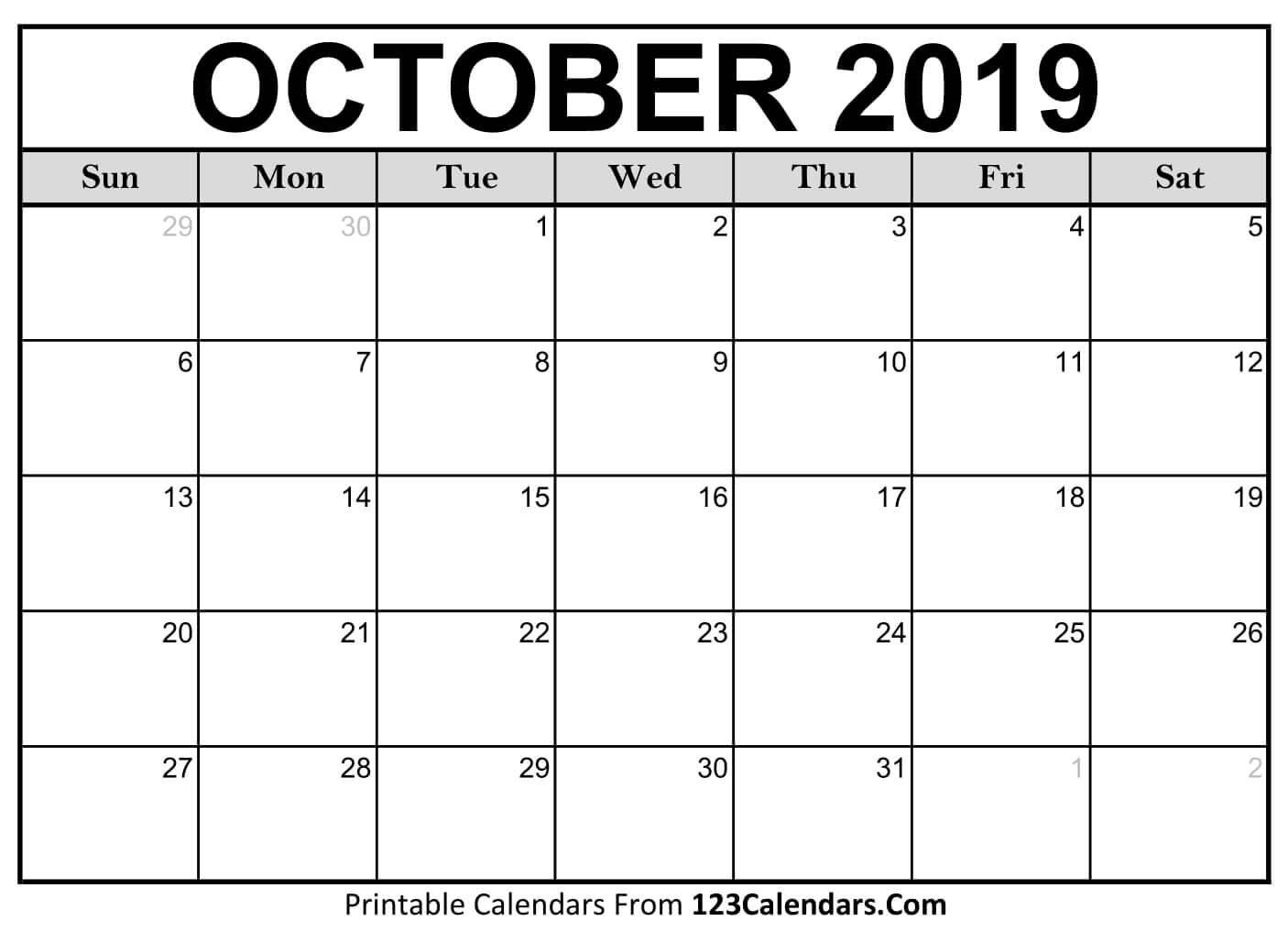 Printable October 2019 Calendar Templates - 123Calendars Calendar 2019 October