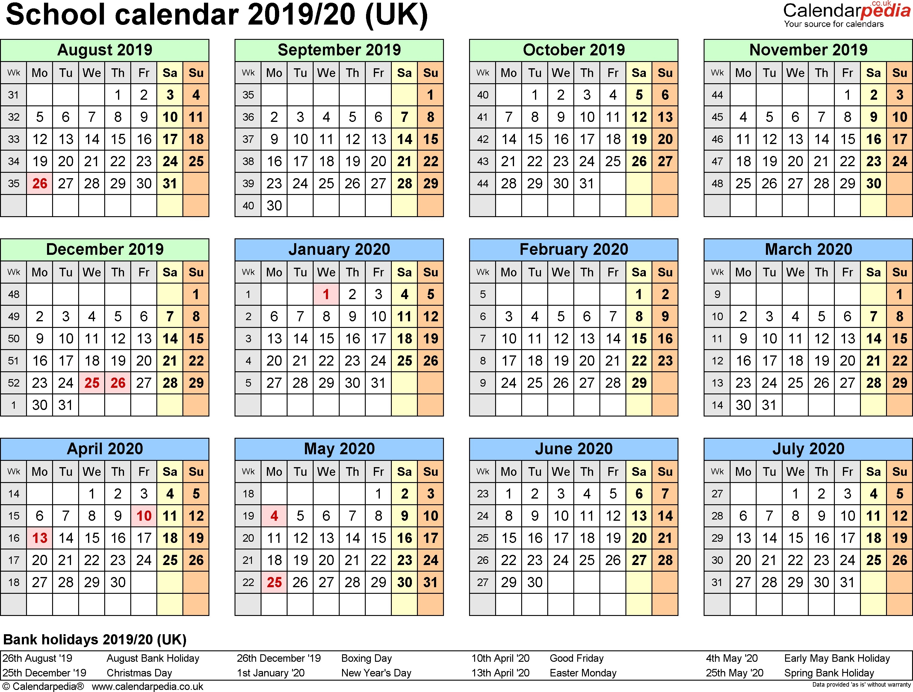Printable School Year Calendar 2019-20 School Calendars 2019 2020 As School Calendar 2019-20