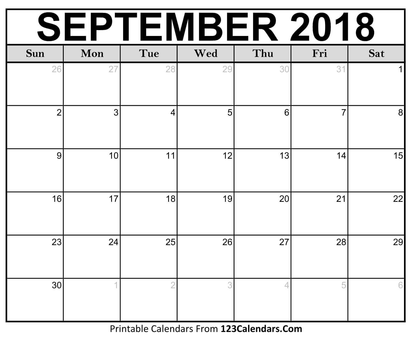 Printable September 2018 Calendar Templates – 123Calendars Calendar 2019 Sept