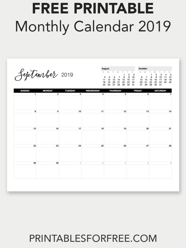 Printable September 2019 Calendar | Free Printable Calendars | Free September 7 2019 Calendar