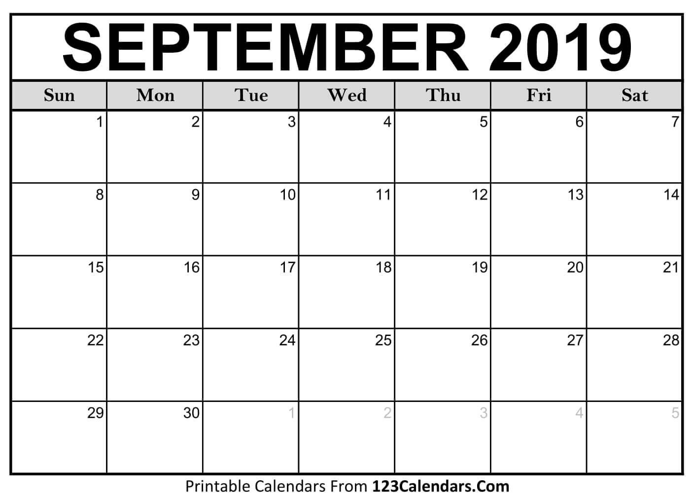Printable September 2019 Calendar Templates - 123Calendars Calendar 2019 September