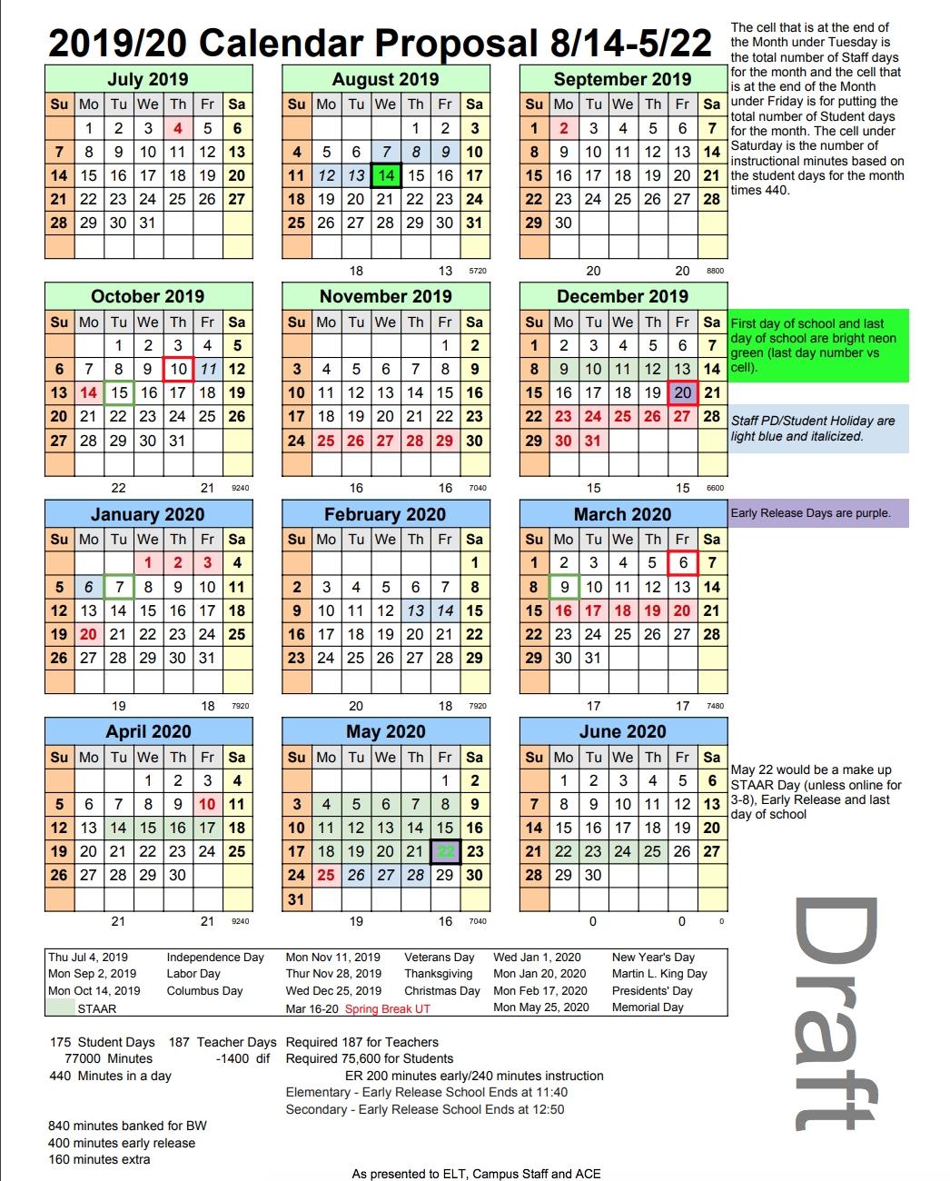 Proposed 2019-20 Academic Calendar, District Improvement Plan And Calendar 2019 20