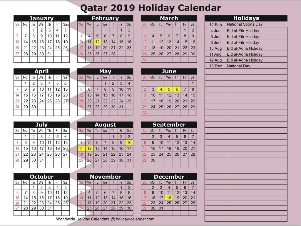 Qatar 2019 / 2020 Holiday Calendar Calendar 2019 National Days