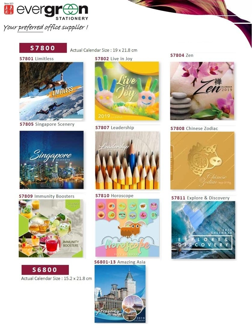 Qoo10 - 2019 Table Calendar S7801/s6801 Collections. Mix Match Any 2 Calendar 2019 Qoo10
