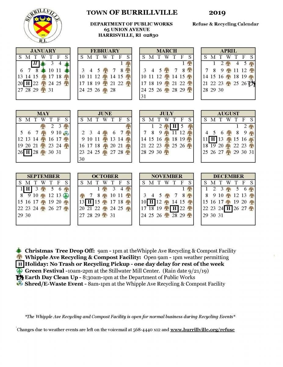 Recycling & Holiday Calendars | Town Of Burrillville Ri 3 Corps Calendar 2019