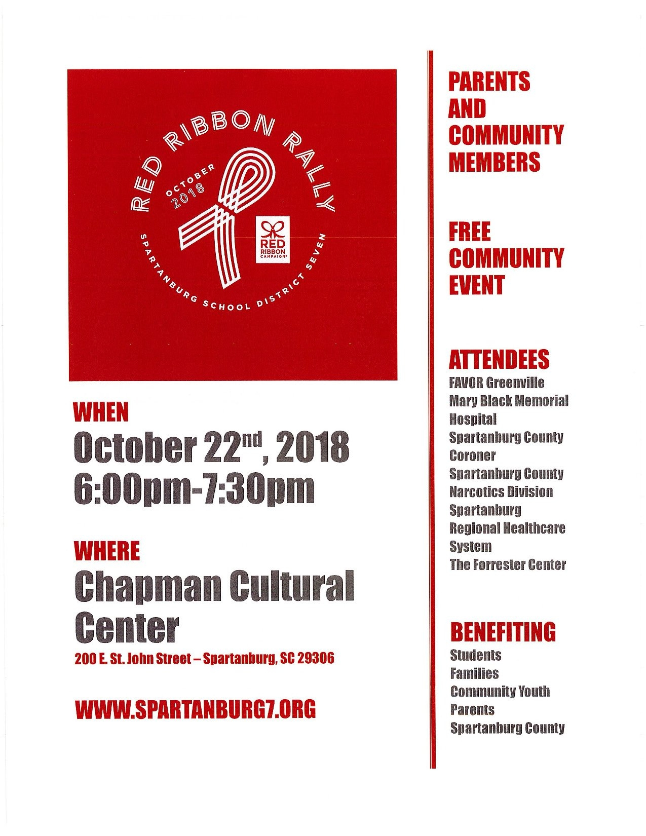 Red Ribbon Rally   Spartanburg 7 :: Chapman Cultural Center Spartanburg District 7 Calendar 2019