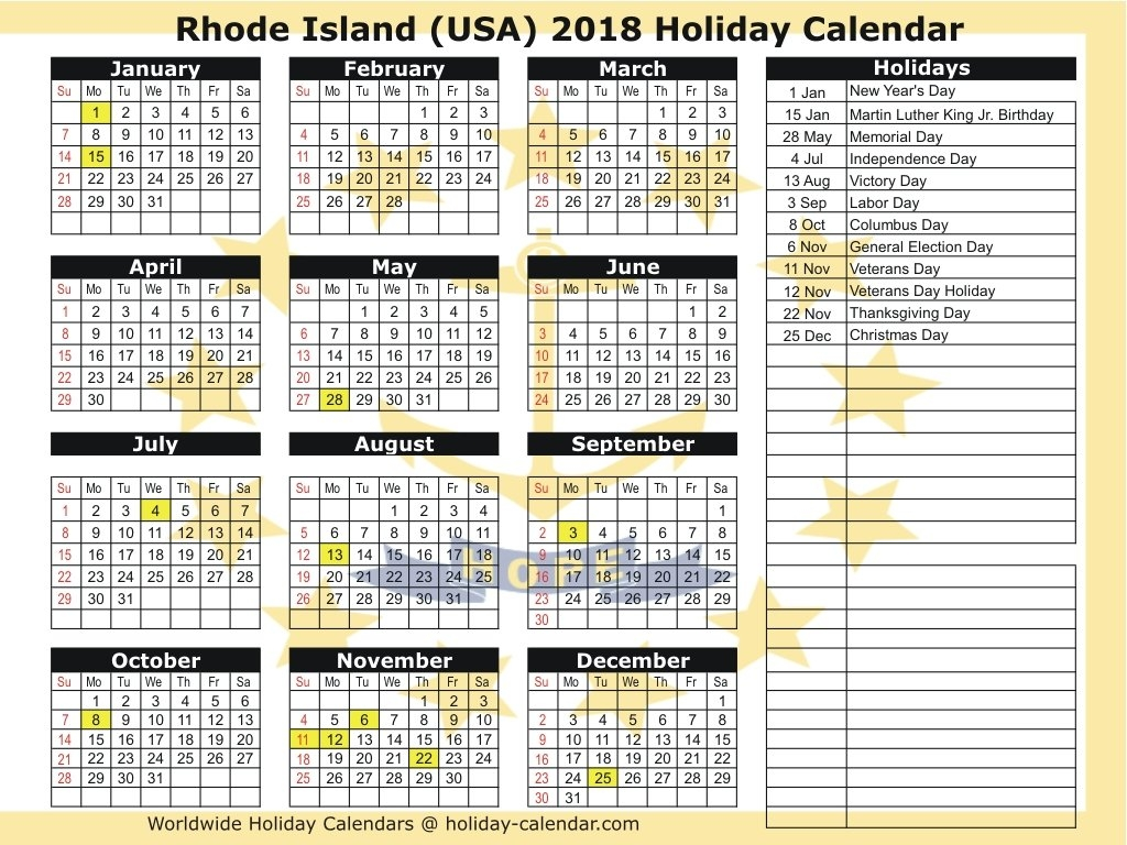 Rhode Island (Usa) 2018 / 2019 Holiday Calendar Calendar 2019 Usa