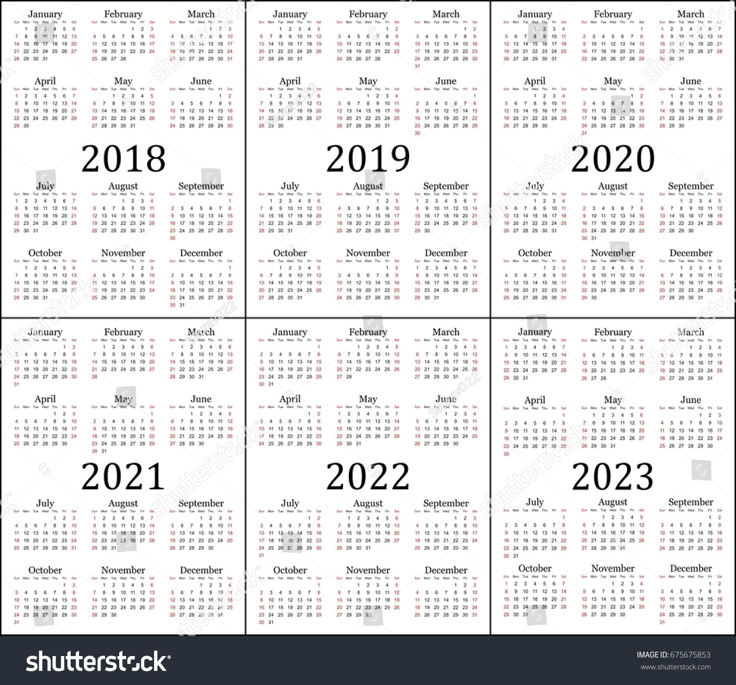 Royalty-Free Six Year Calendar - 2018, 2019, 2020,… #675675853 Stock 3 Year Calendar 2019 To 2021 Printable