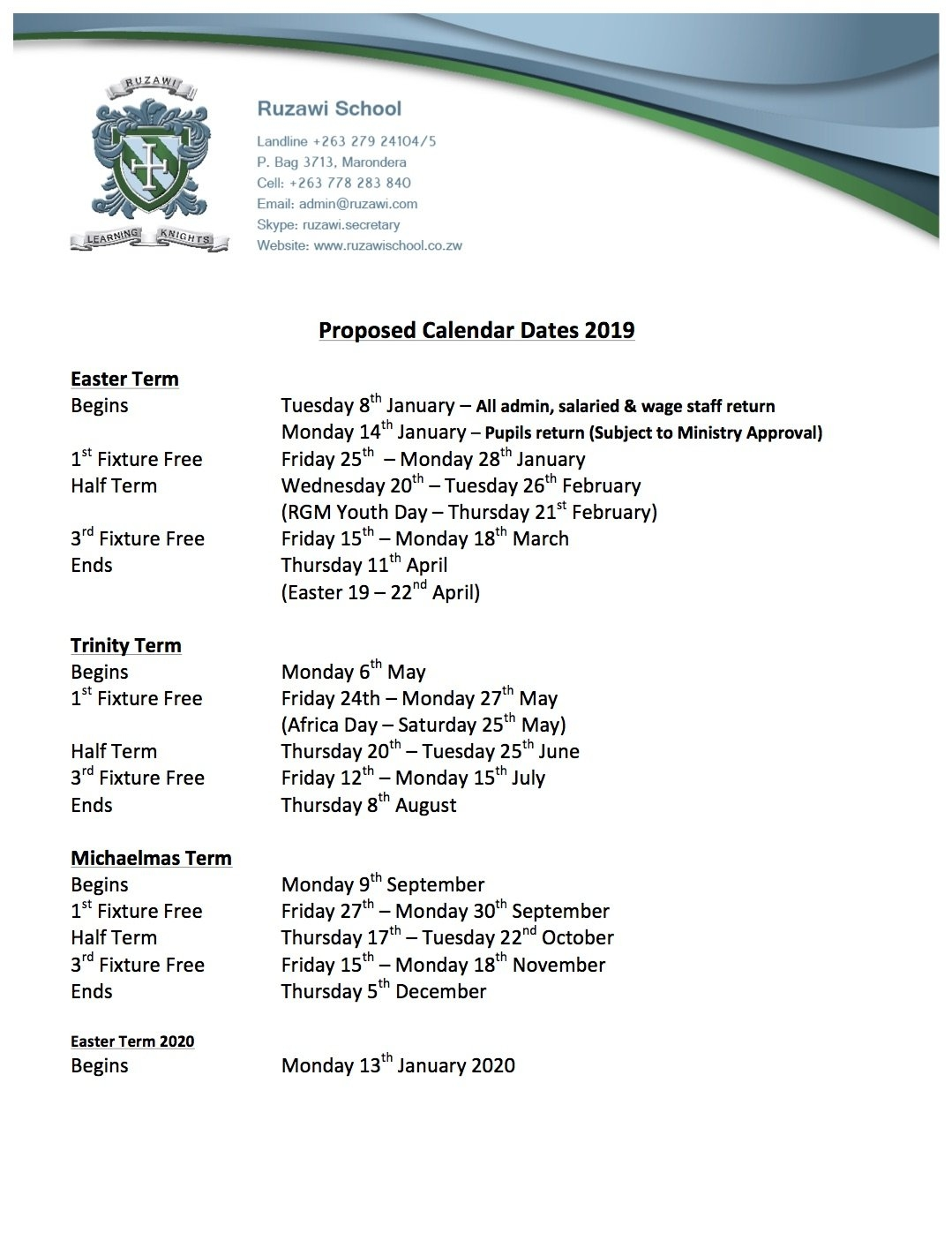 Ruzawi School - Term Dates 2019 School Calendar 2019 Zimbabwe