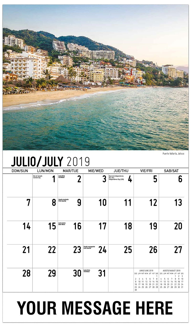 Scenes Of Mexico Spanish-English 65¢ Promo Calendar | Escenas De México Calendar 2019 Mexico