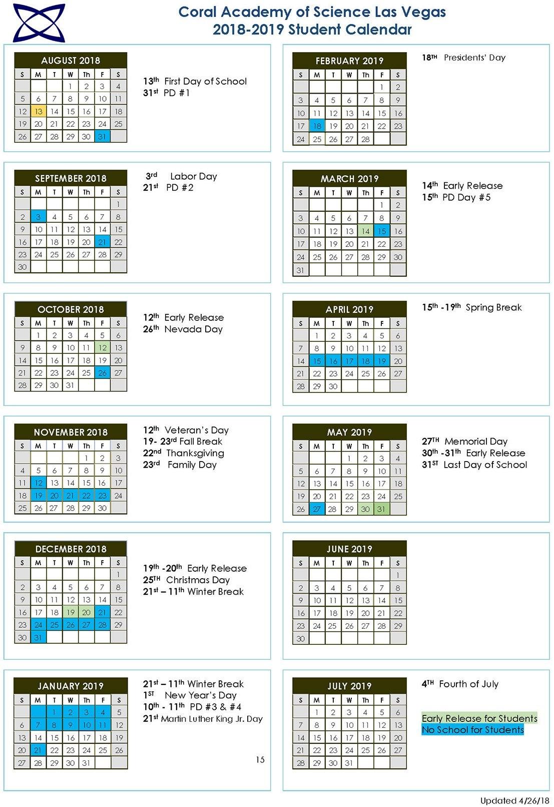 School Calendar 2018-2019 | Coral Academy Of Science Las Vegas Calendar 2019 Spring Break