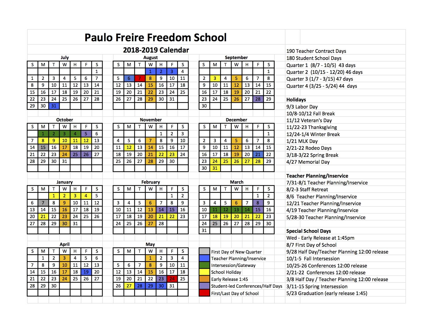 School Calendar Freedom 5 Calendar 2019