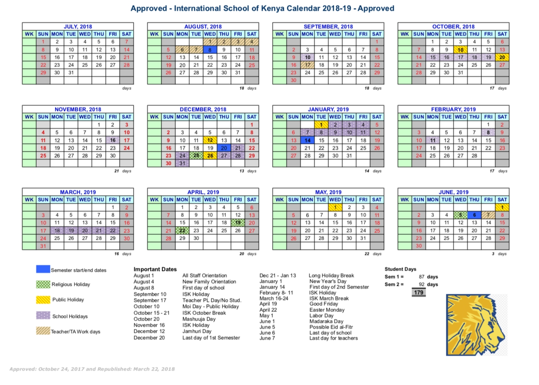 School Calendar - International School Of Kenya Calendar 2019 Kenya