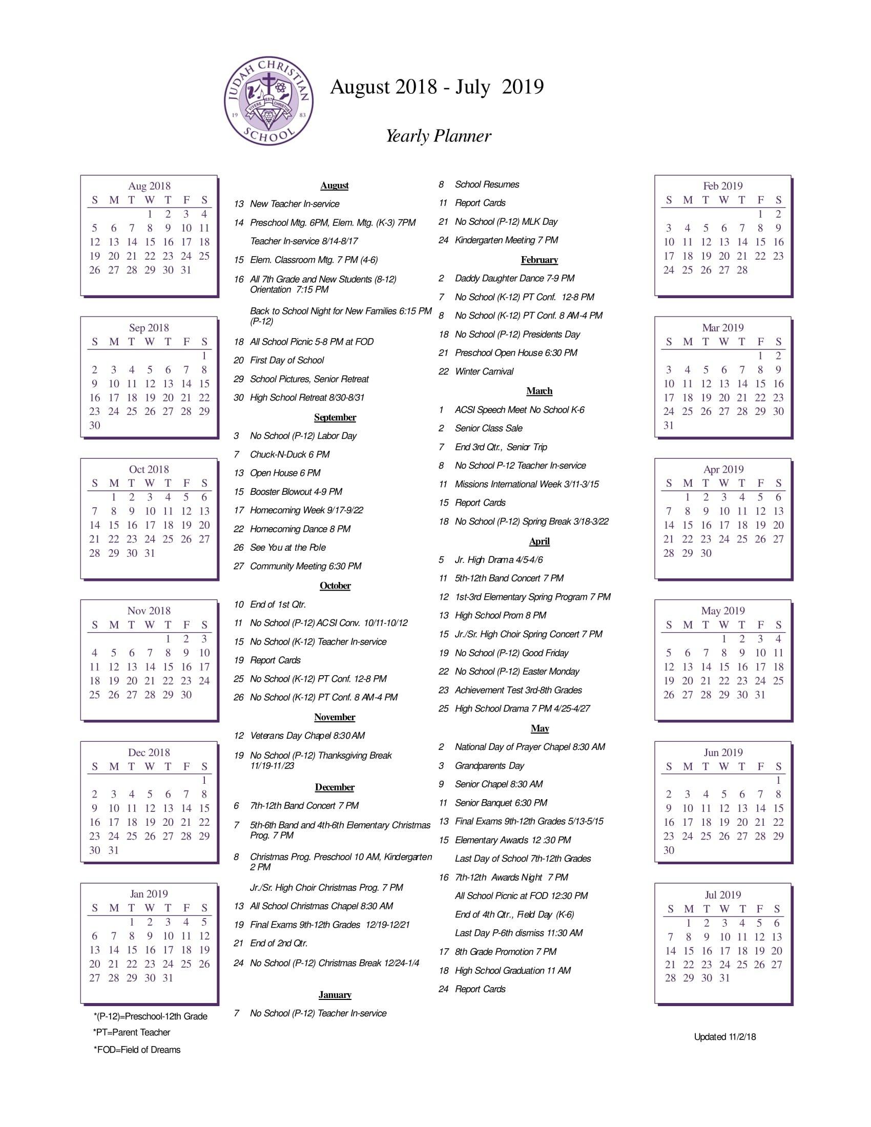 School Calendar - Judah Christian School Calendar 2019 Christian