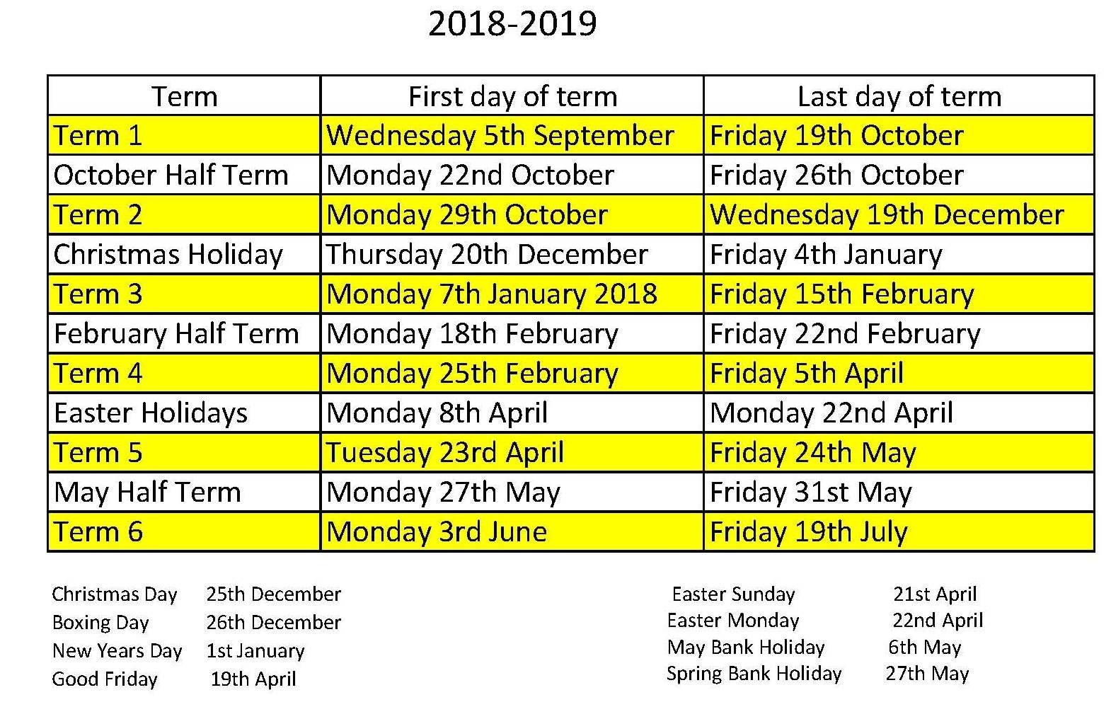 School Calendar - Oakwood Primary Academy Calendar 2019 Good Friday