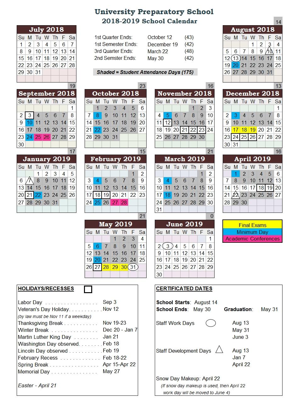 School Calendar U Of H Calendar 2019