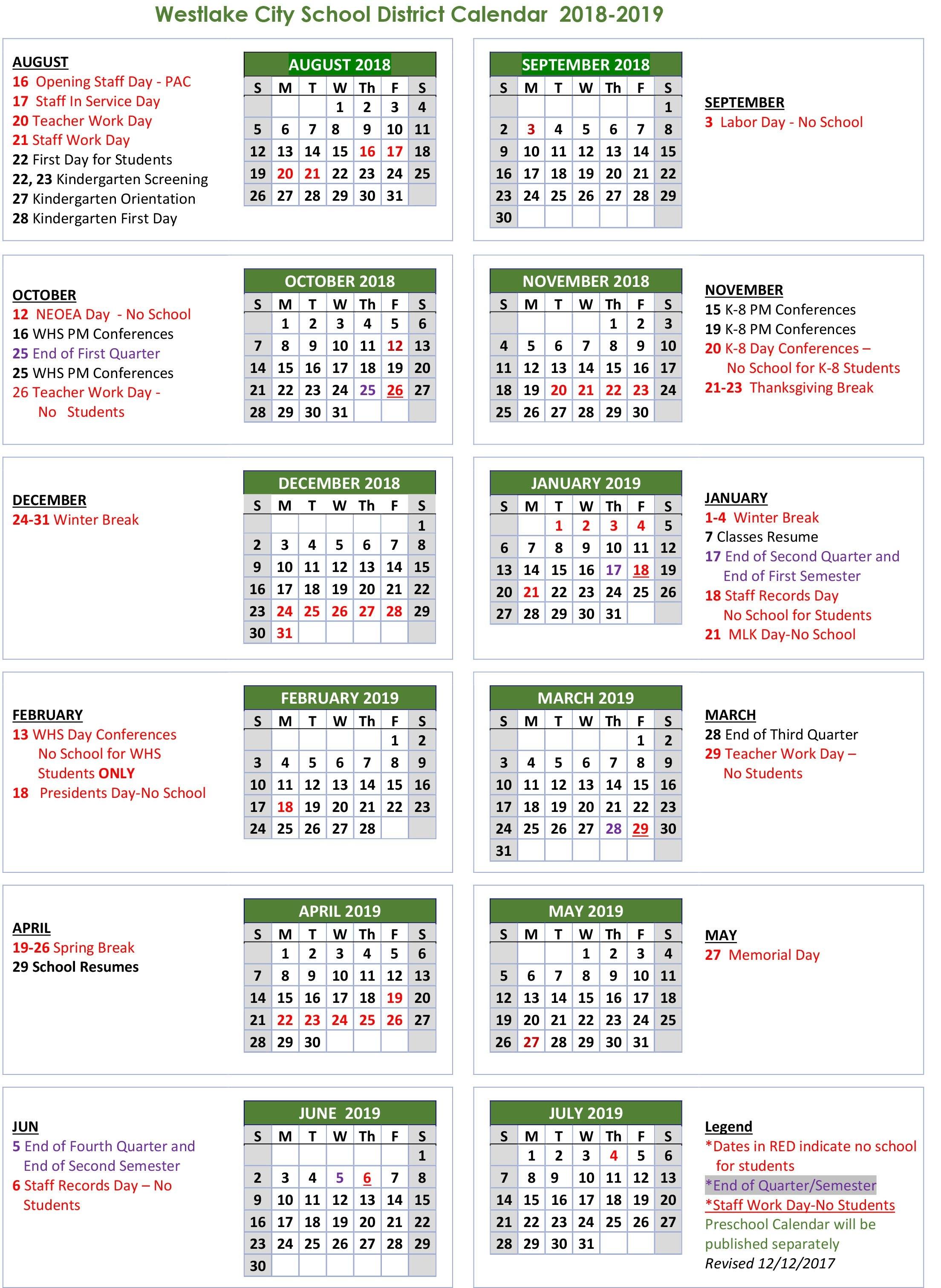School Calendar - Westlake City School District Calendar 2019 Spring Break