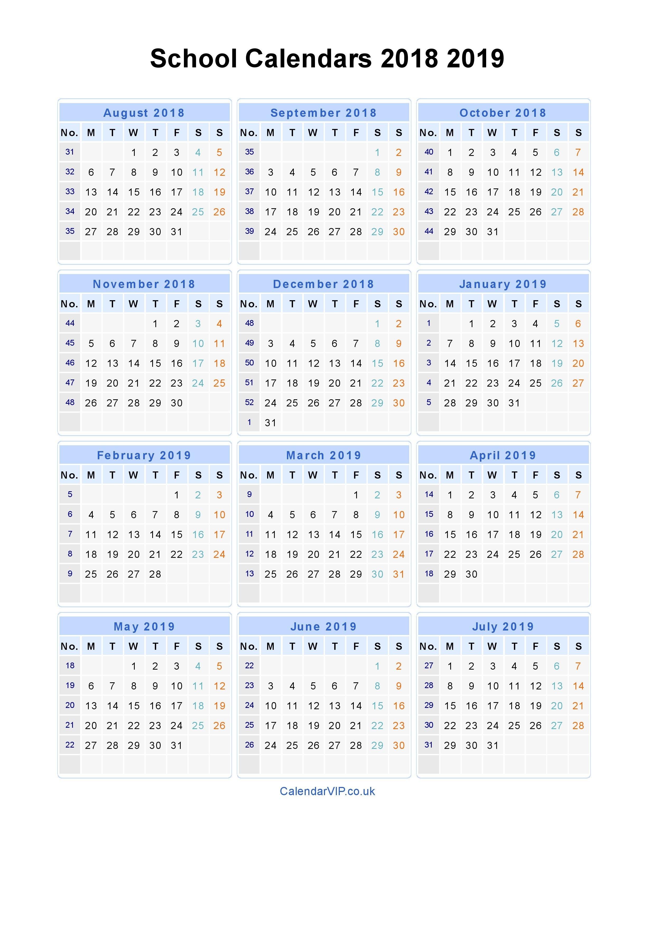 School Calendars 2018 2019 - Calendar From August 2018 To July 2019 Calendar 2019-19