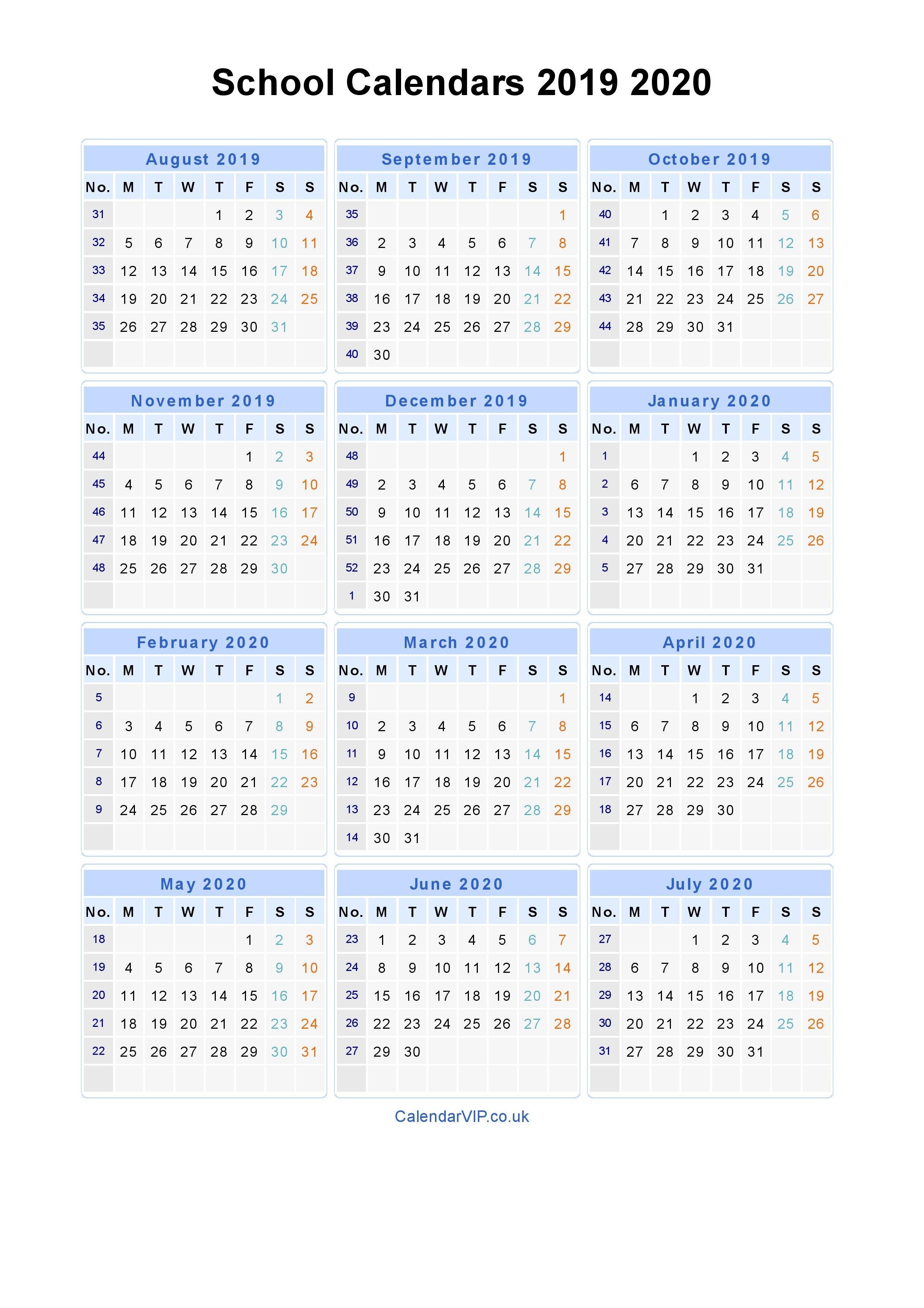School Calendars 2019 2020 - Calendar From August 2019 To July 2020 4 Year Calendar 2019 To 2022