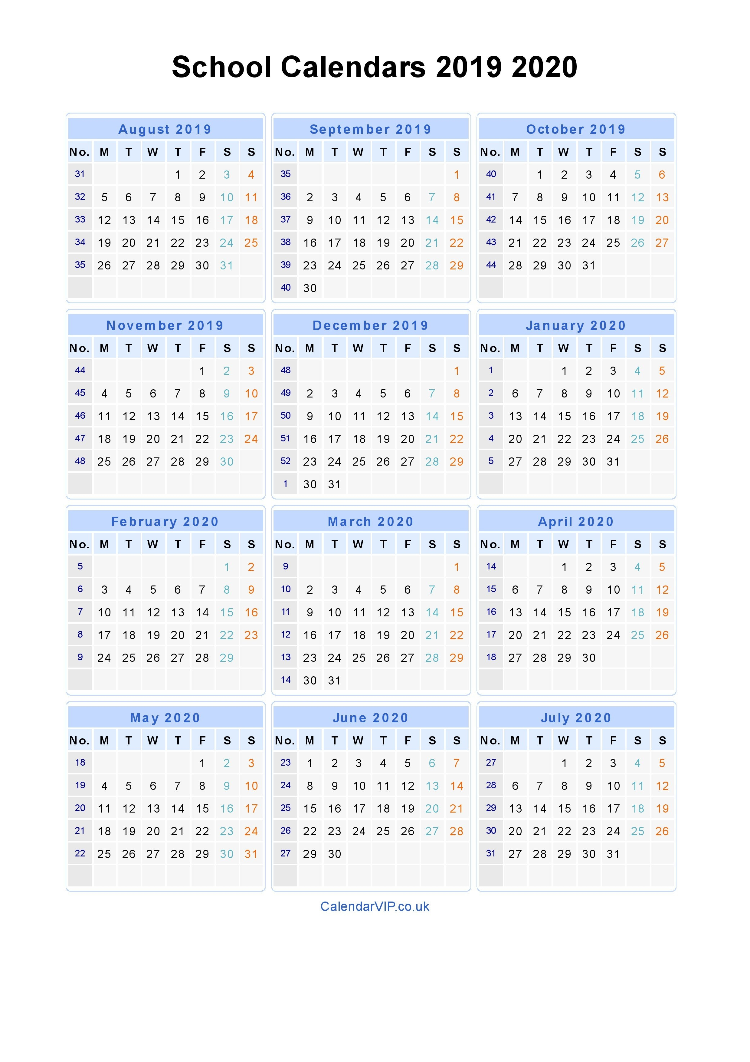 School Calendars 2019 2020 - Calendar From August 2019 To July 2020 Calendar 2019 To 2020