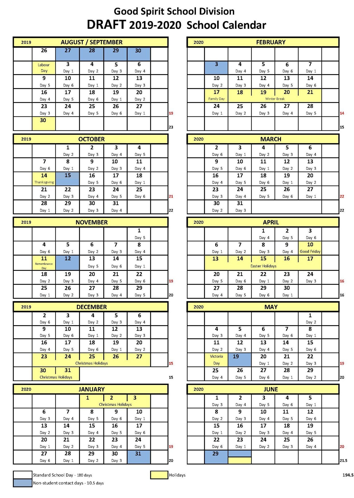 School Year Calendar - Good Spirit School Division 204 Ccsd Calendar 2019-20