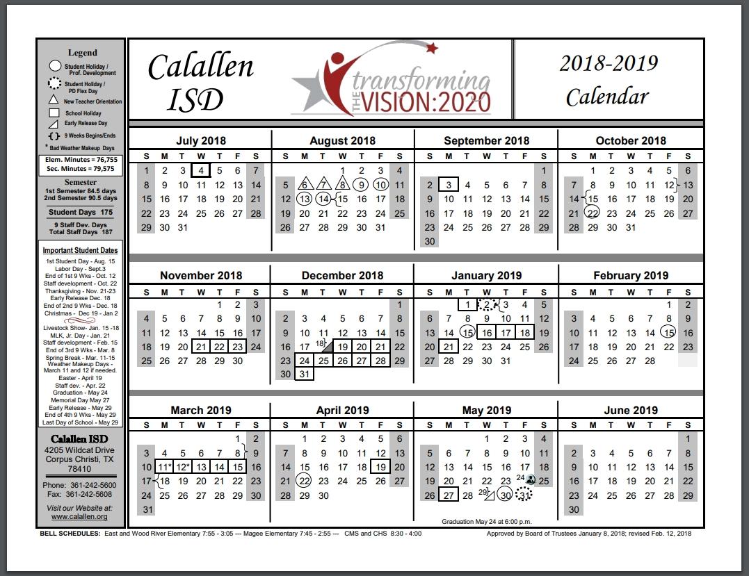 School Year Calendar / School Year Calendar 2018-2019 School District 8 2019 Calendar