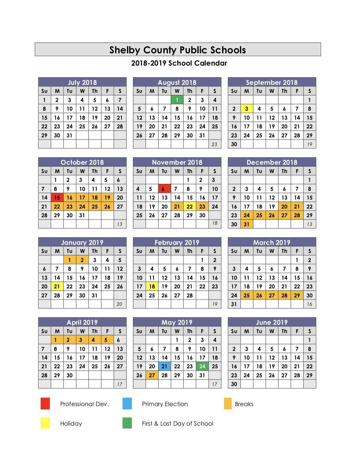School Year Calendars / 2018-2019 School Calendar Calendar 2019-19