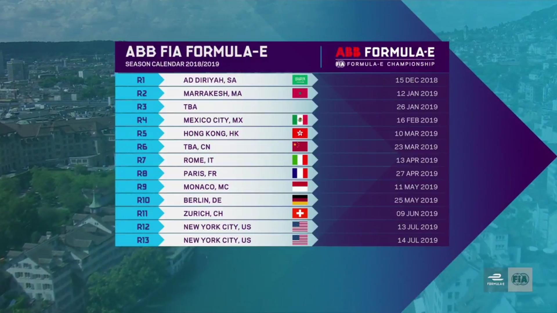 Season 5 Calendar : Formulae Formula E Calendar 2019