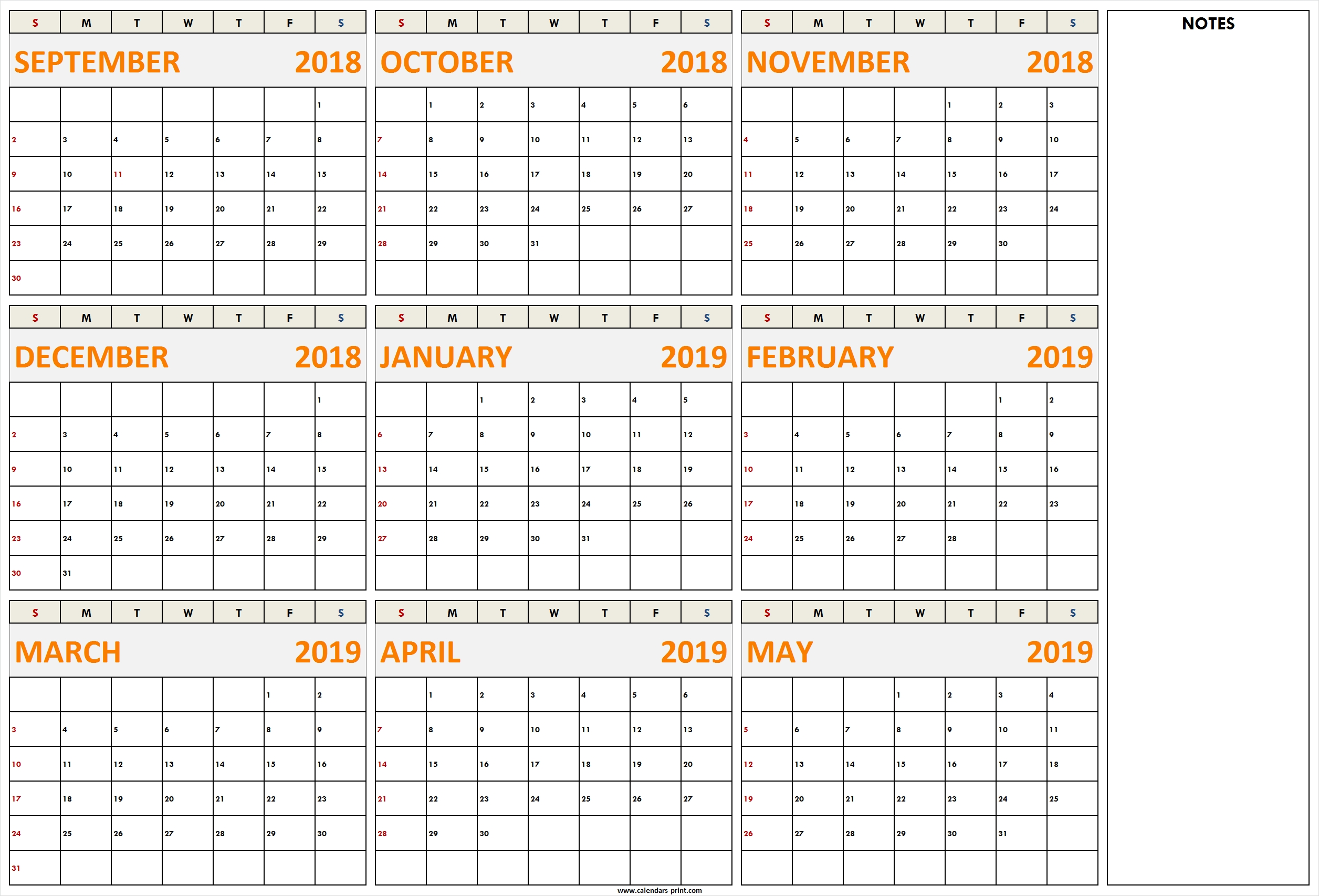 September 2018 To May 2019 Calendar Printable Template With Notes May 9 2019 Calendar