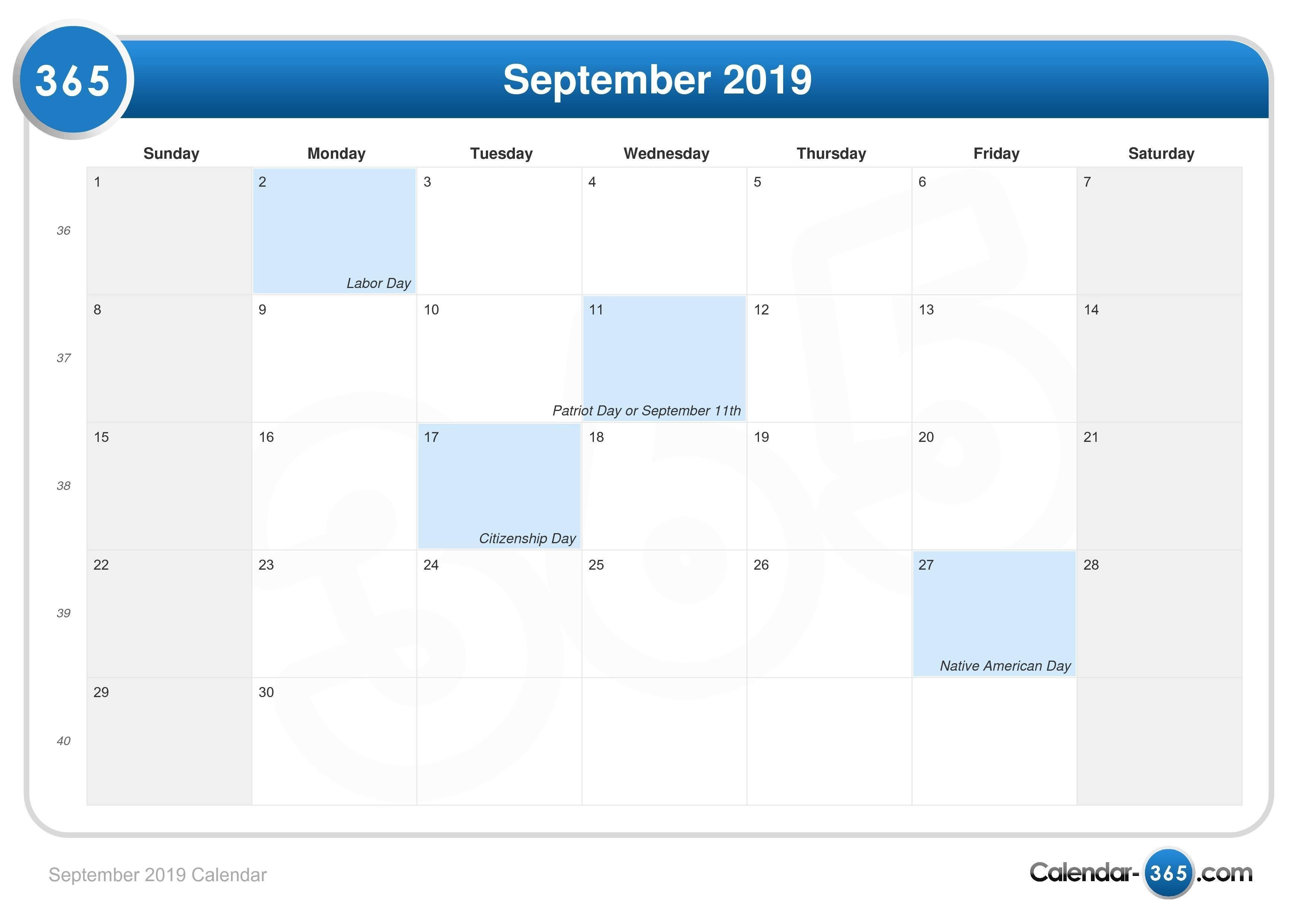 September 2019 Calendar 2019 Calendar 365 Pdf
