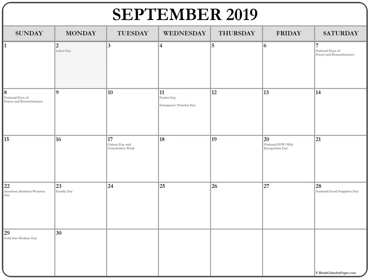 September 2019 Calendar | 56+ Templates Of 2019 Printable Calendars Calendar 2019 Sept