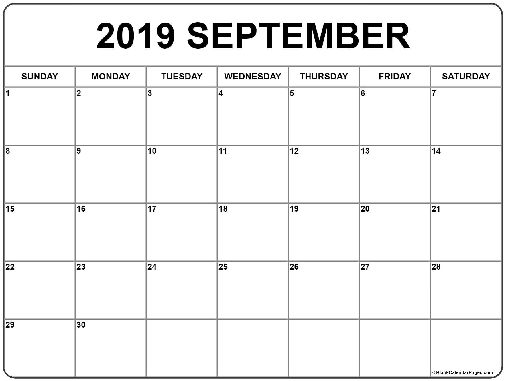 September 2019 Calendar | 56+ Templates Of 2019 Printable Calendars Calendar 2019 September