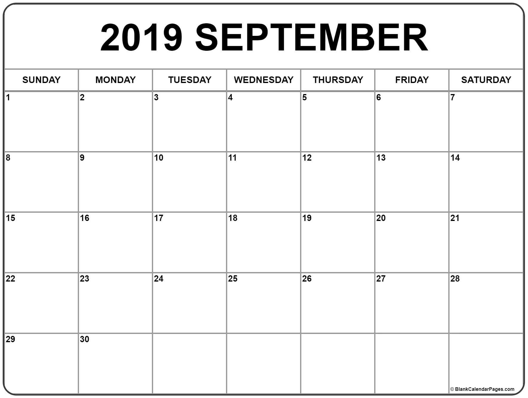 September 2019 Calendar | 56+ Templates Of 2019 Printable Calendars Calendar 2019 September