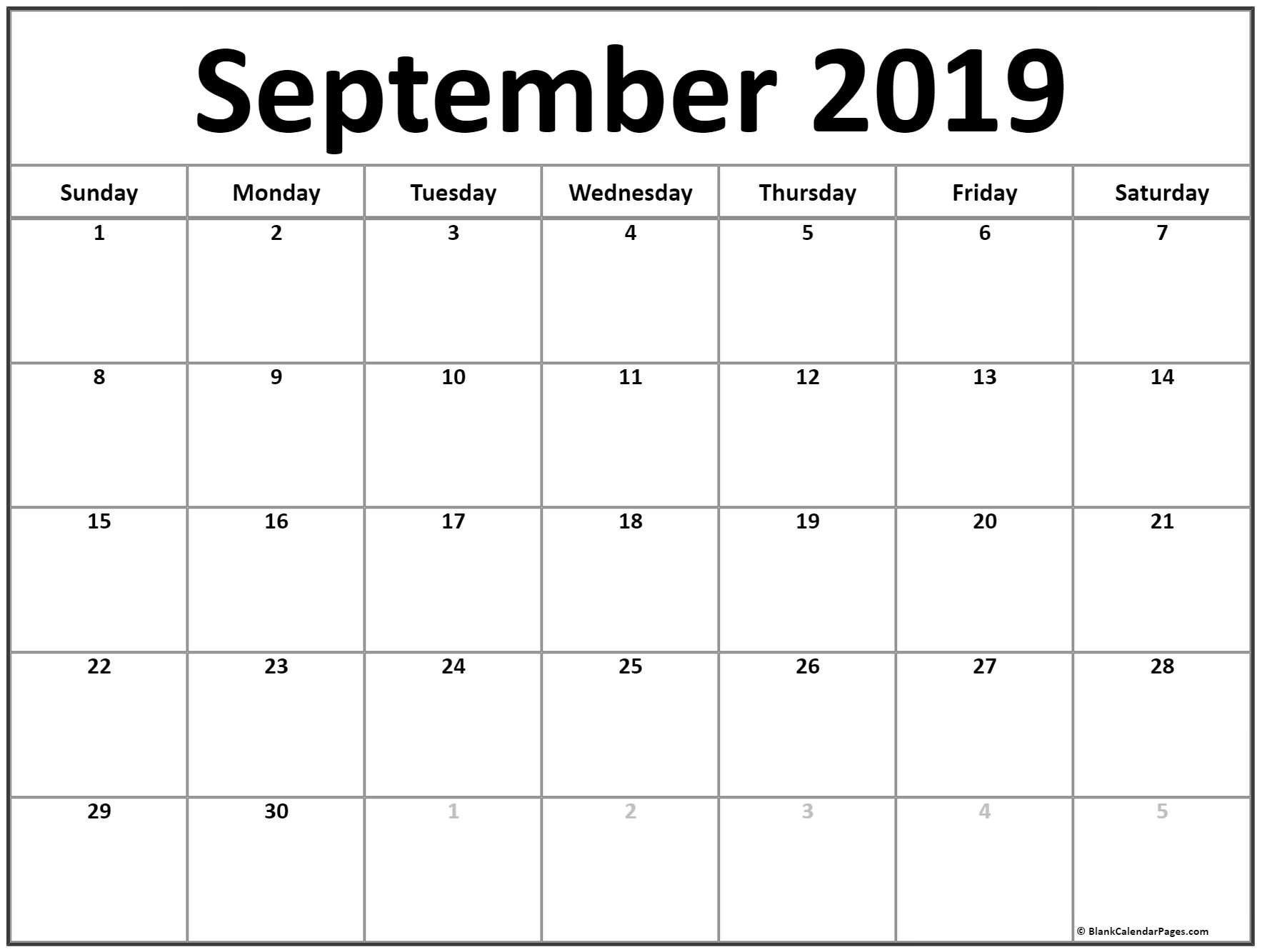 September 2019 Calendar | 56+ Templates Of 2019 Printable Calendars Calendar Of 2019 September