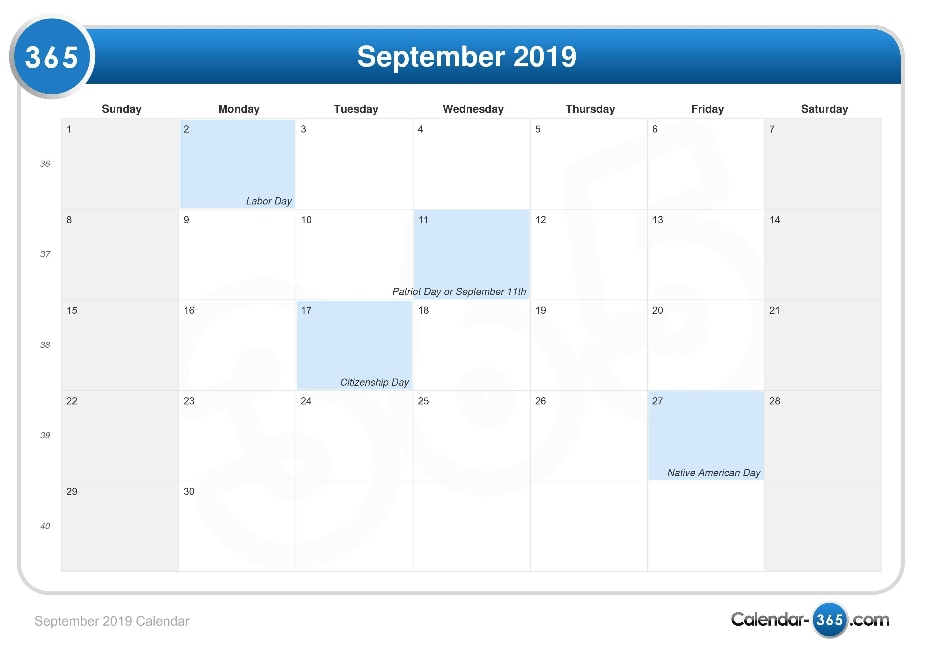September 2019 Calendar Calendar 2019 Labor Day