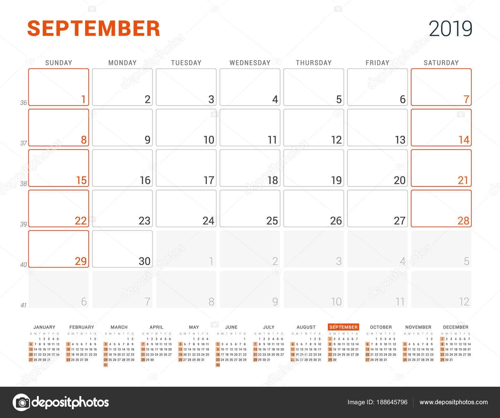September 2019. Calendar Planner For 2019 Year. Vector Design Print September 7 2019 Calendar