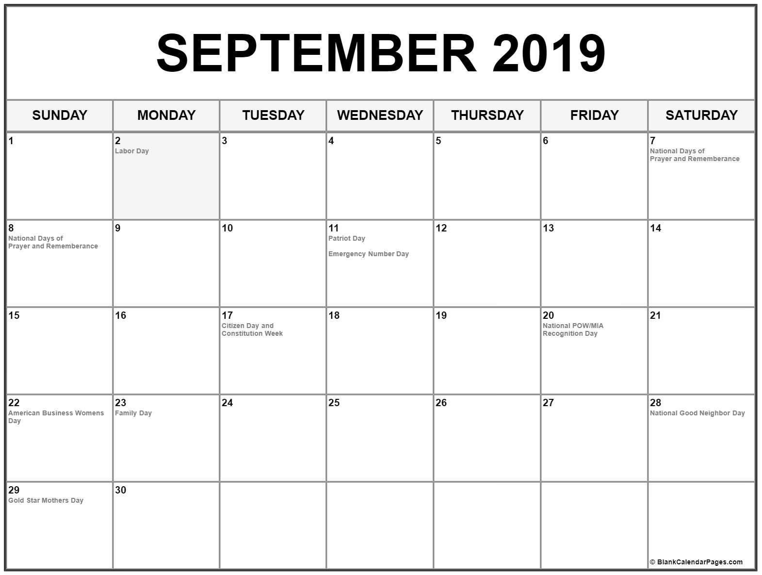 September 2019 Calendar With Holidays #september #september2019 Calendar 2019 Sept