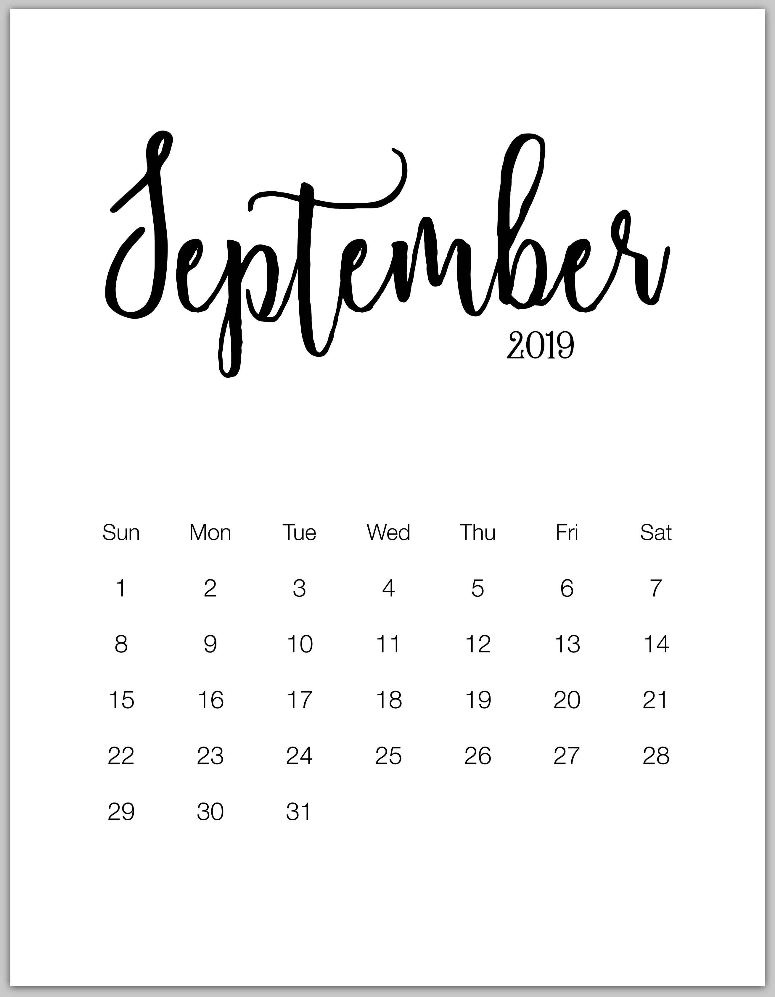 September 2019 Minimalist Calendar | Hello♥Kitty's Diy | Pinterest September 7 2019 Calendar