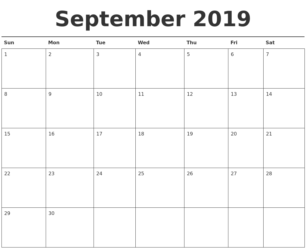 September Calendars Calendar 2019 Sept