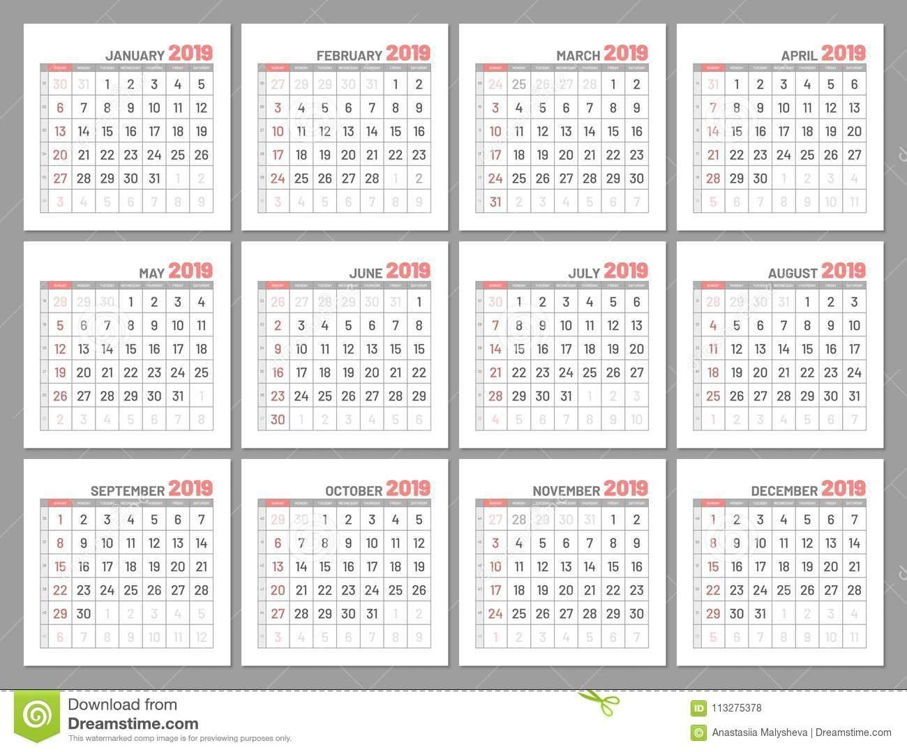 Set Identical Light Mini Calendars, 2019, Months, Flat Stock Vector Calendar 2019 Important Dates