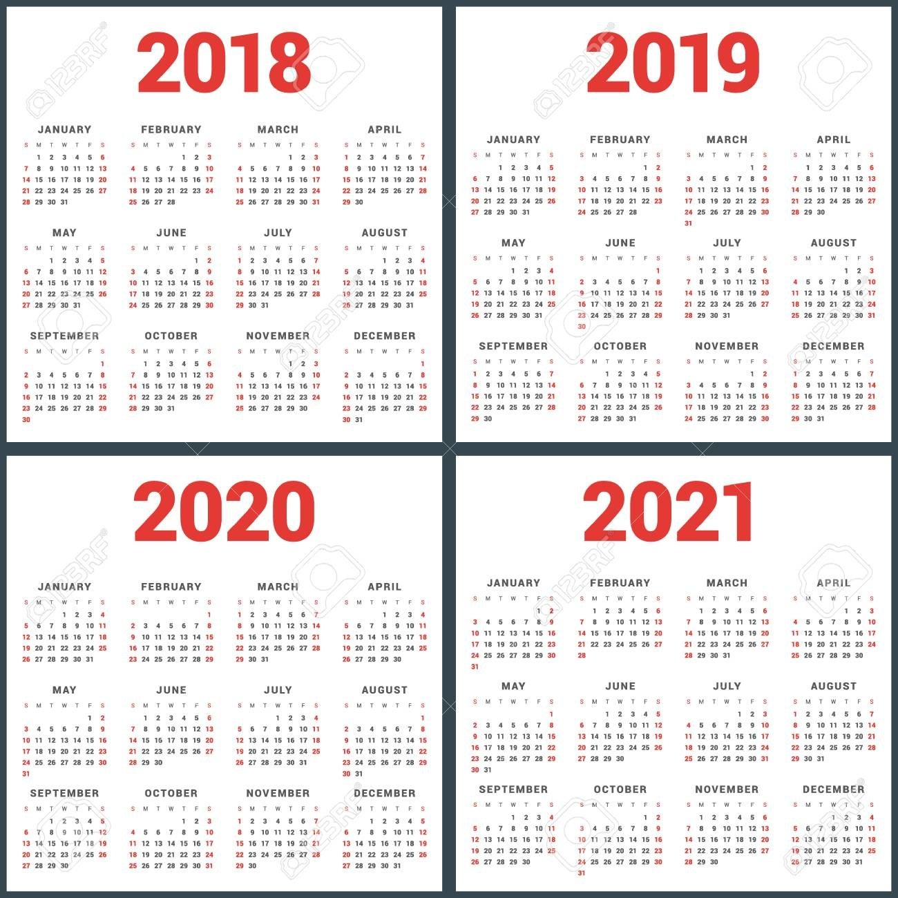 Set Of Calendars For 2018, 2019, 2020, 2021 Years. Week Starts Calendar 2019 To 2021