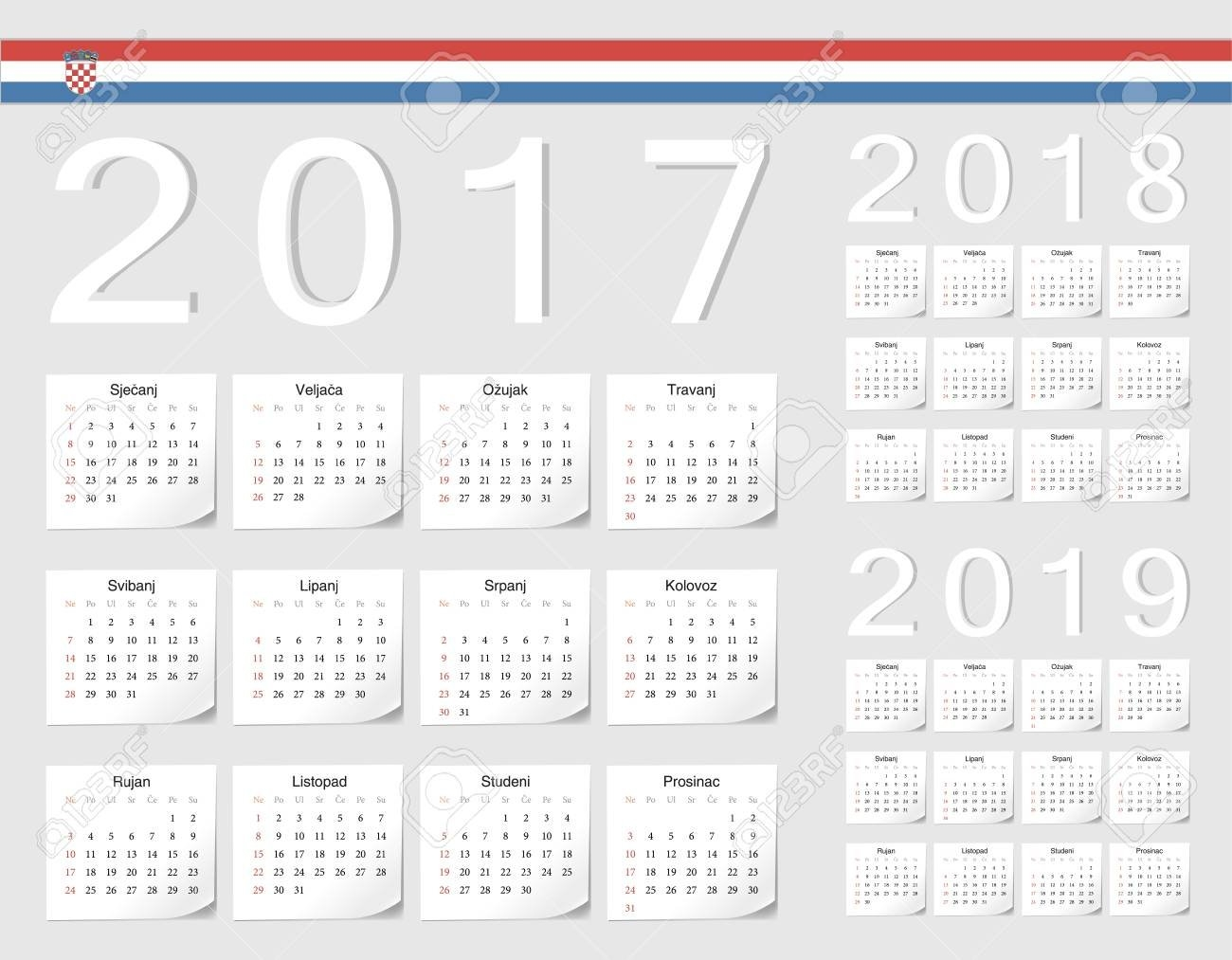 Set Of Croatian 2017, 2018, 2019 Vector Calendars With Shadow Calendar 2019 Ut
