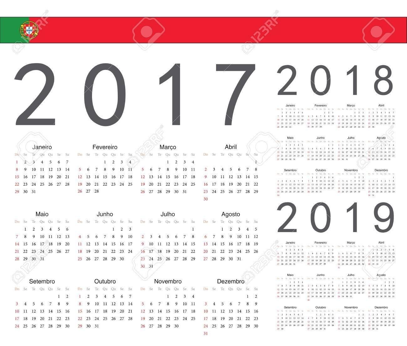 Set Of Portuguese 2017, 2018, 2019 Year Vector Calendars. Week Calendar Week 36 2019