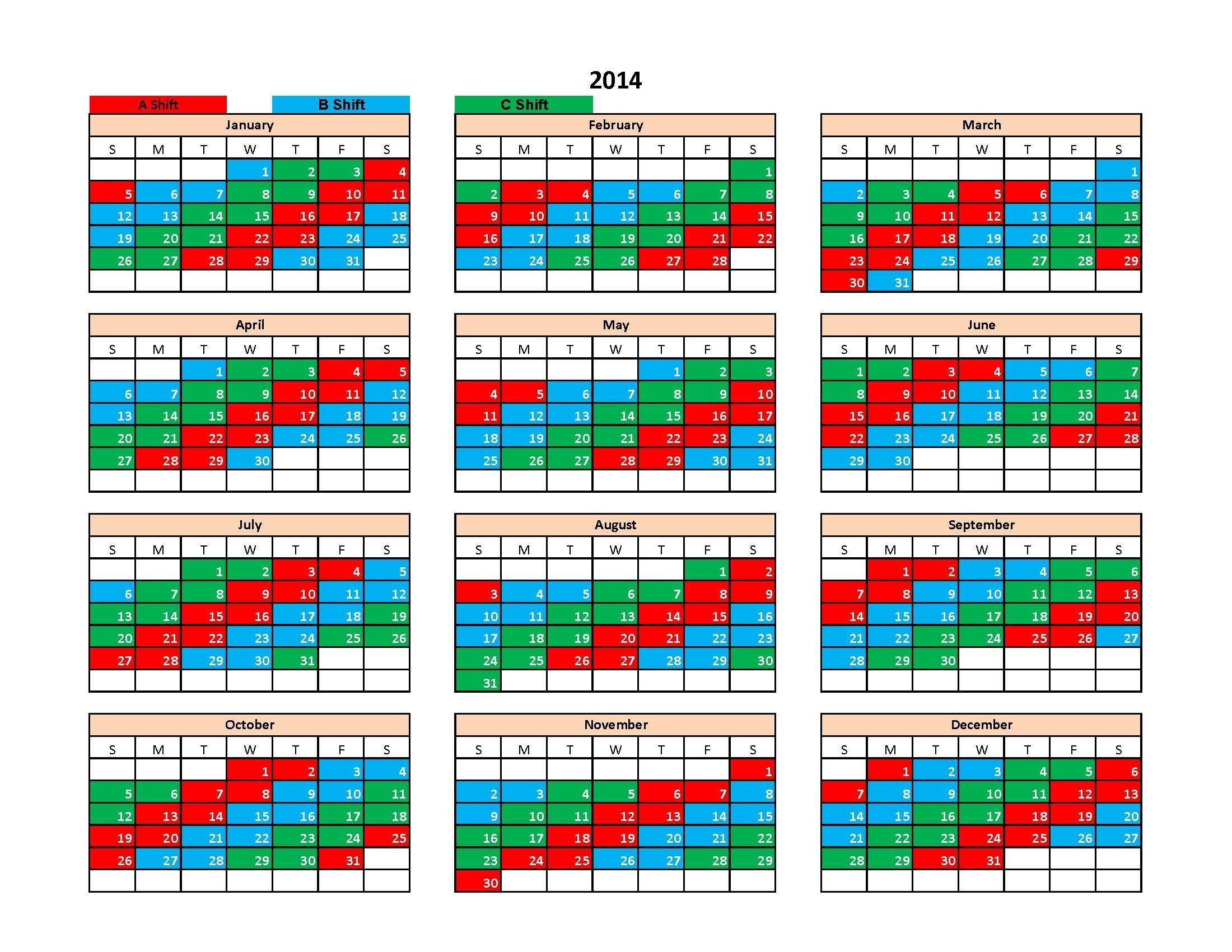 Shift Calendar 3 Shift Calendar 2019