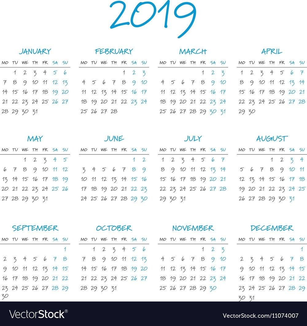 Simple 2019 Year Calendar Royalty Free Vector Image Calendar 2019 Vector File